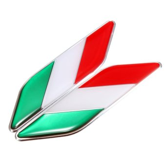 2x 3D Italian Italy Flag Sticker Badge Emblems Decal Decor For Car Truck Laptop - intl