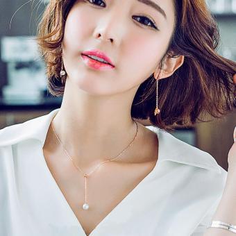 Dây chuyền bạc chữ Y ngọc trai thời trang xinh xắn SPN-XL026(Vàng Hồng)