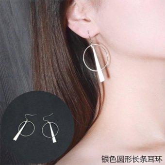 Bông tai tròn hợp kim thanh giữa hình tam giác màu bạc