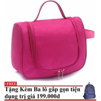 Túi đựng đồ cá nhân du lịch (hồng đậm)+Tặng kèm balo du lịch gấp gọn