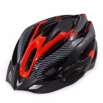 Mũ nón bảo hiểm xe đạp Thể thao vân Carbon (Đen Đỏ)