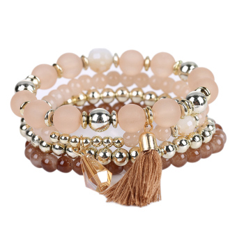 Woman Multilayer Bracelet Beads Coin Tassel Bracelets (Coffee) - intl