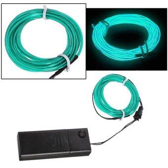 Flexible EL Wire Neon Light 5M Dance Xmas Party Car Decor +Controller(Green)- - intl