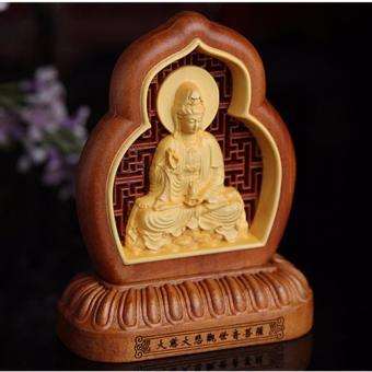 Tượng phong thủy Phật Quan Âm bằng gỗ cao cấp Handmade F129 (Trang trí ô tô)