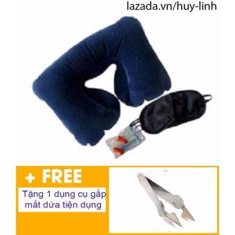 Bộ gối hơi tựa cổ ( Xanh tím than ) + Free dụng cụ gắp mắt dứa tiện dụng