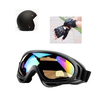 Mũ bảo hiểm moto tặng mắt kính đi phượt và găng tay thể thao hở ngón