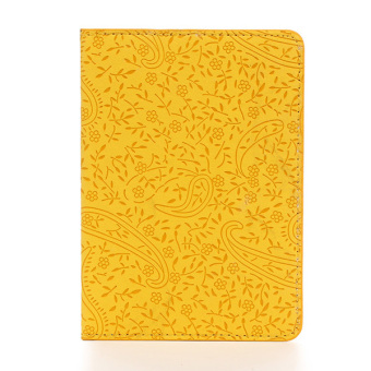 Embossed PU Leather Travel Passport Holder Ticket ID Credit Card Journey Cover Yellow - intl