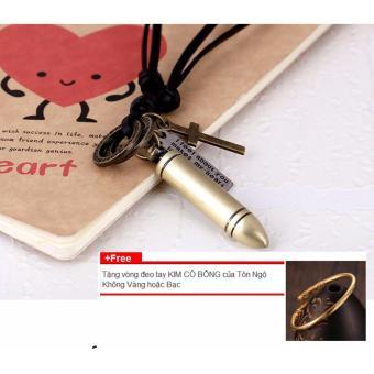 Dây chuyền, vòng cổ DA nam hình VIÊN ĐẠN (Vàng) +Tặng 1 vòng đeo tay Kim Cô Bổng của Tôn Ngộ Không CỰC CHẤT