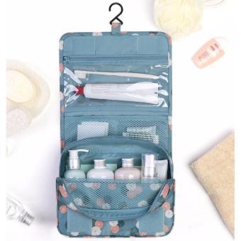 Túi đựng đồ du lịch cá nhân đa năng có móc treo phong cách Hàn Quốc (Xanh, nền hoa)