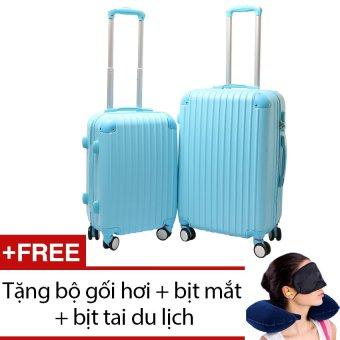 Bộ 2 vali nhựa cứng SAM 20+24 inch (Xanh) + Tặng bộ 1 gối hơi + 1 bịt mắt + 1 cặp bịt tai du lịch