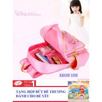 Ba lô học sinh cho bé kiểu Hàn Quốc siêu nhẹ, siêu bền an toàn sức khỏe (màu hồng) + tặng kèm 01 hộp bút dành cho bé yêu
