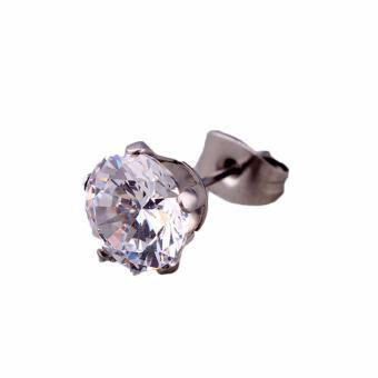 Fancyqube 2016 New Arrival Fashion Hot sale Korean Style Four Claw Zircon Titanium Steel 1 Peice Unisex Ear Stud Drop Shipping White-4(White 4 MM) - intl