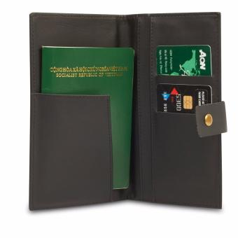 Ví da simili Passport (Đen)