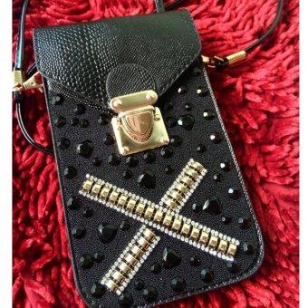 Túi đựng điện thoại đính đá sang trọng (đen)