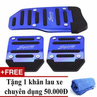Ốp chân phanh, côn, ga ô tô số sàn (Xanh) + Tặng 1 khăn lau xe chuyên dụng