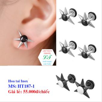 Bông tai Inox 5 gai cá tính HT187-1 (Trắng)