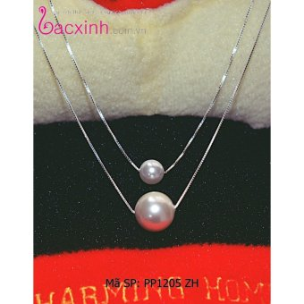 Bộ dây chuyền liền mặt trang sức bạc S925 Italia Bạc Xinh - Ngọc trai hai tầng PP1205 ZH
