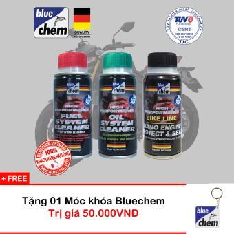 Bộ sản phẩm Bluechem Làm sạch & Bảo vệ Động cơ Xăng xe máy Tặng Móc khóa Bluechem