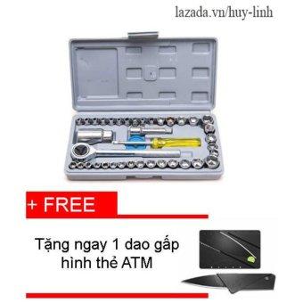 Bộ dụng cụ sửa chữa ôtô và xe máy 40 món+ Tặng 1 dao gấp hình thẻ ATM