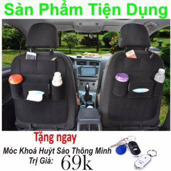 Túi đựng đồ treo sau ghế ô tô (Đen) Hàng Nhập Khẩu + Tặng Ngay Móc Khoá Huýt Sáo Thông Minh