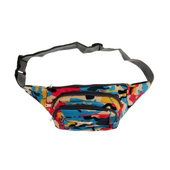 BolehDeals 4 Pockets Nylon Pack Waist Bag Camouflage Travel Money Rose red - intl