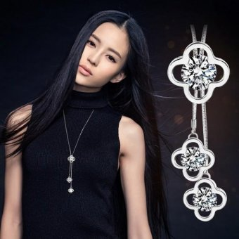 Dây Chuyền Dài Clover Pha Lê Cao cấp Lấp Lánh phong cách Hàn Quốc MYL-YY005