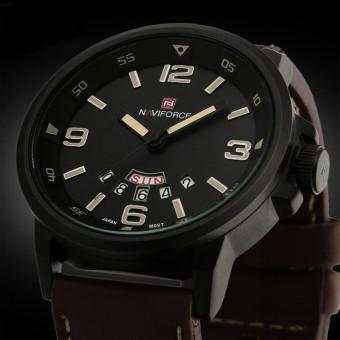 Men Analog Quartz Date Sport Army Leather Wrist Watch Waterproof Watches