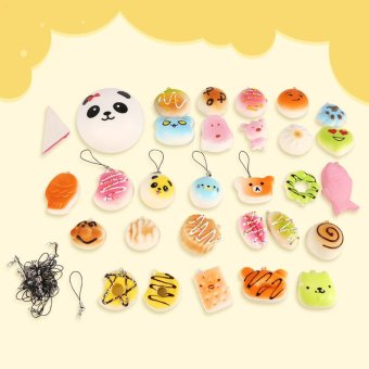 30Pcs Mini Random Cute Squishy Kawaii Soft Panda Buns Cake Donuts Bread Keychain Phone Straps - intl