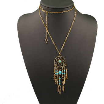 Fancyqube Romantic Bohemian Nation Long Feather Jewelry Gold (Intl)