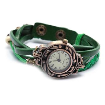 Đồng hồ nữ dây giả da Vintage (Xanh lá)