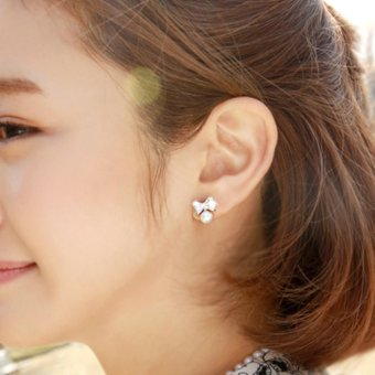 Bông tai ngọc trai nơ thời trang nữ Hàn Quốc