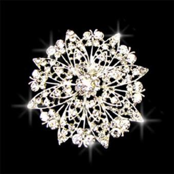 Silver Crystal Rhinestone Flower Bouquet Bridal Wedding Dress Brooch Pin - Intl