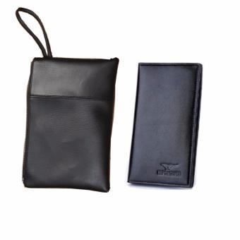 Bộ túi đựng tài liệu A2 đen và ví cầm tay dài đen Hanama