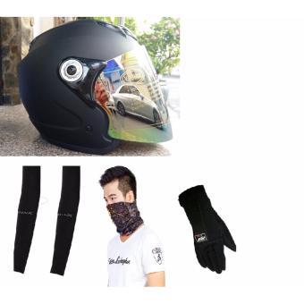 Mũ Bảo Hiểm Moto Napoli Tem chuẩn Quatest 3 và Phụ Kiên (đen)