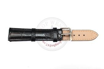 Dây đồng hồ da bò vân cá sấu size 18mm - DDH10 (Đen).