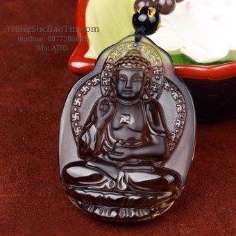 Mặt Dây Chuyền PHẬT Bản Phật A Di Đà Thạch Anh Khói Phong Thủy BẢO TÍN