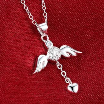 Dây chuyền bạc đôi cánh thiên sứ dễ thương Hàn Quốc LKNSPCN674(Bạc)