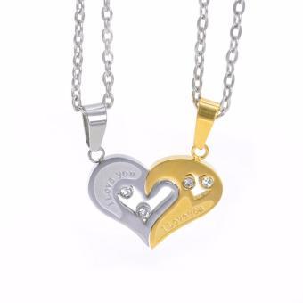 Mặt dây chuyền cặp trái tim MDC16 (1 bạc, 1 vàng)
