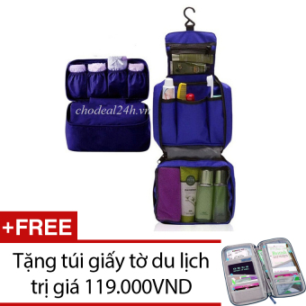 Bộ túi đựng đồ cá nhân du lịch và túi đựng đồ lót du lịch (xanh dương) + Tặng túi đựng giấy tờ du lịch