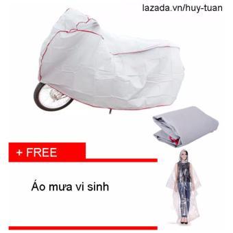 Bạt che xe máy ( màu ghi ) + free áo mưa vi sinh có khẩu trang