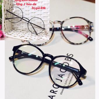 Mắt kính nhựa gọng tròn nam nữ s47 (Đen) + Tặng kính NOBITA và 2 bao da