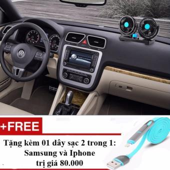 Quạt đôi xoay 360 độ trên xe ô tô HX-T303, 12V + Tặng dây sạc điện thoại 2 trong 1 cho Iphone và Samsung