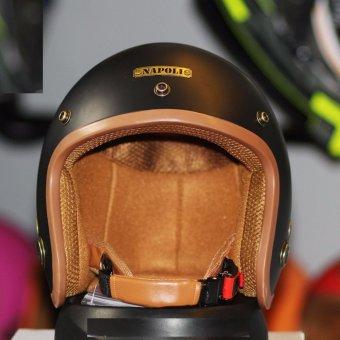Mũ Bảo Hiểm 3/4 Đầu Napoli Tem chuẩn CR ( đen nhám)