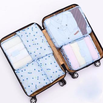 Bộ 6 túi cherry du lịch đựng đồ cá nhân (xanh dương)