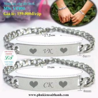 Vòng tay cặp đôi Inox CK-VK cực yêu VT091 (Trắng)