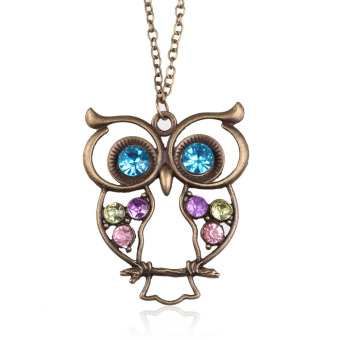 Fashion Vintage Rhinestone Owl Jewelery Long Pendant Sweater Necklace