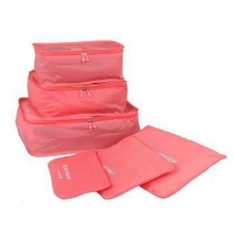 Bộ 6 Túi Đựng Đồ Du Lịch Chống Thấm Bag in Bag (Đỏ)
