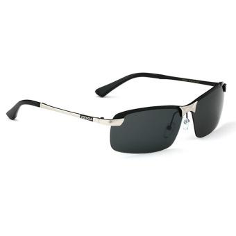 Fancyqube Metal Square-shaped Men's Uv Polarized Sunglasses (Silver)