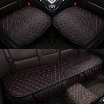 Bộ 3 miếng lót ghế da thể thao cao cấp cho xe hơi (Đen đỏ)