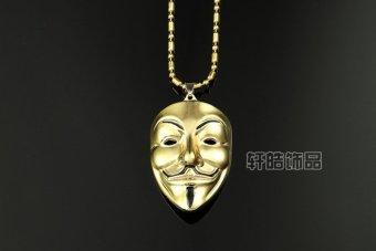 Vòng cổ nam hip hop hình mặt nạ Anonymous T71 (Vàng)